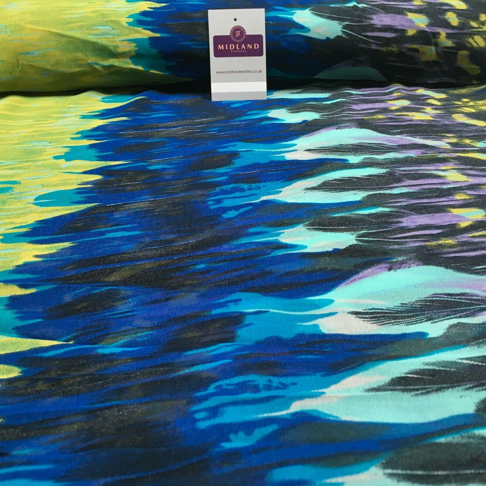 Olive Blue Abstract Border Crepe Printed Chiffon Fabric 110 cm Wide M1358-3 Mtex