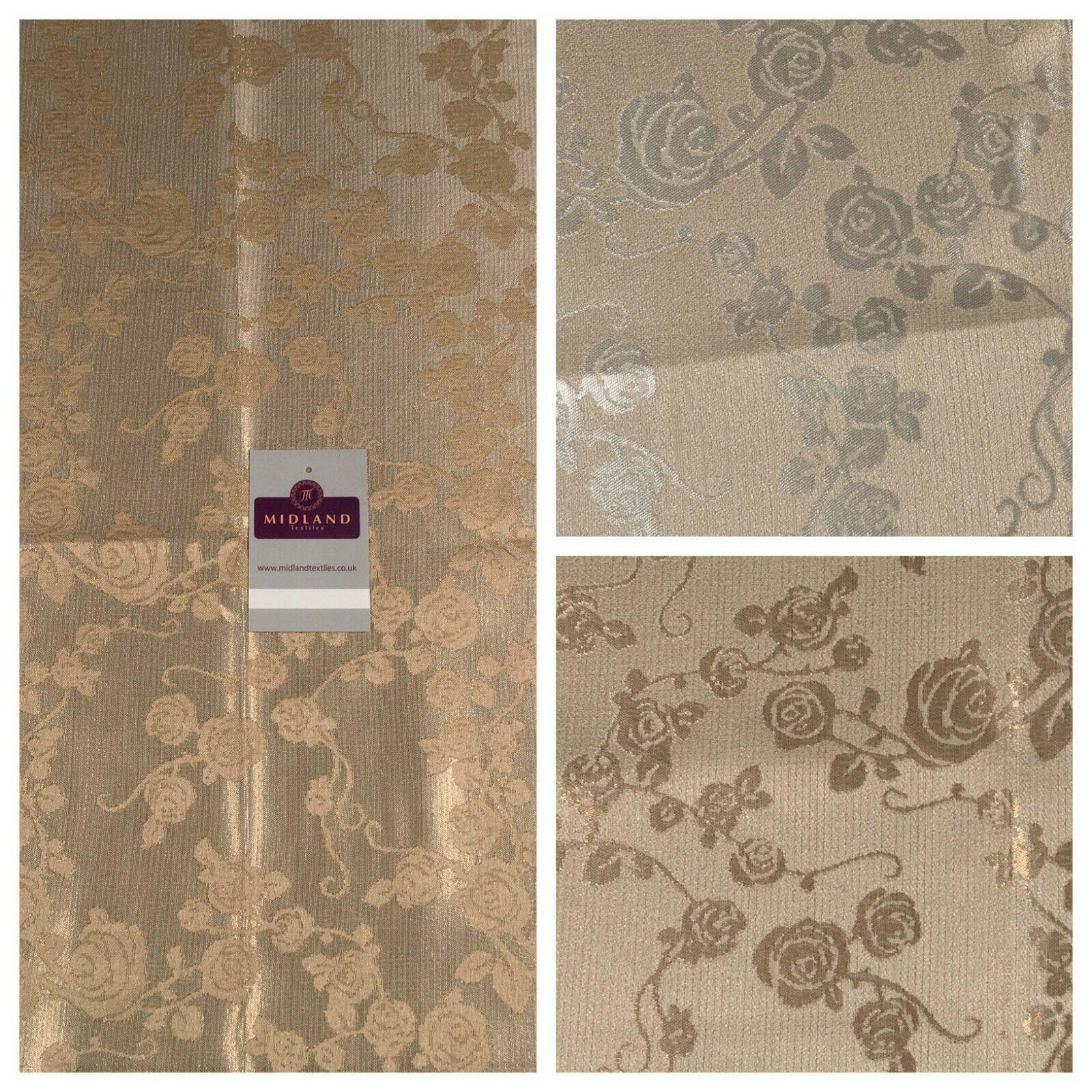 Bridal Brocade Floral Metallic Wedding Fabric 140 cm MK1365 Mtex