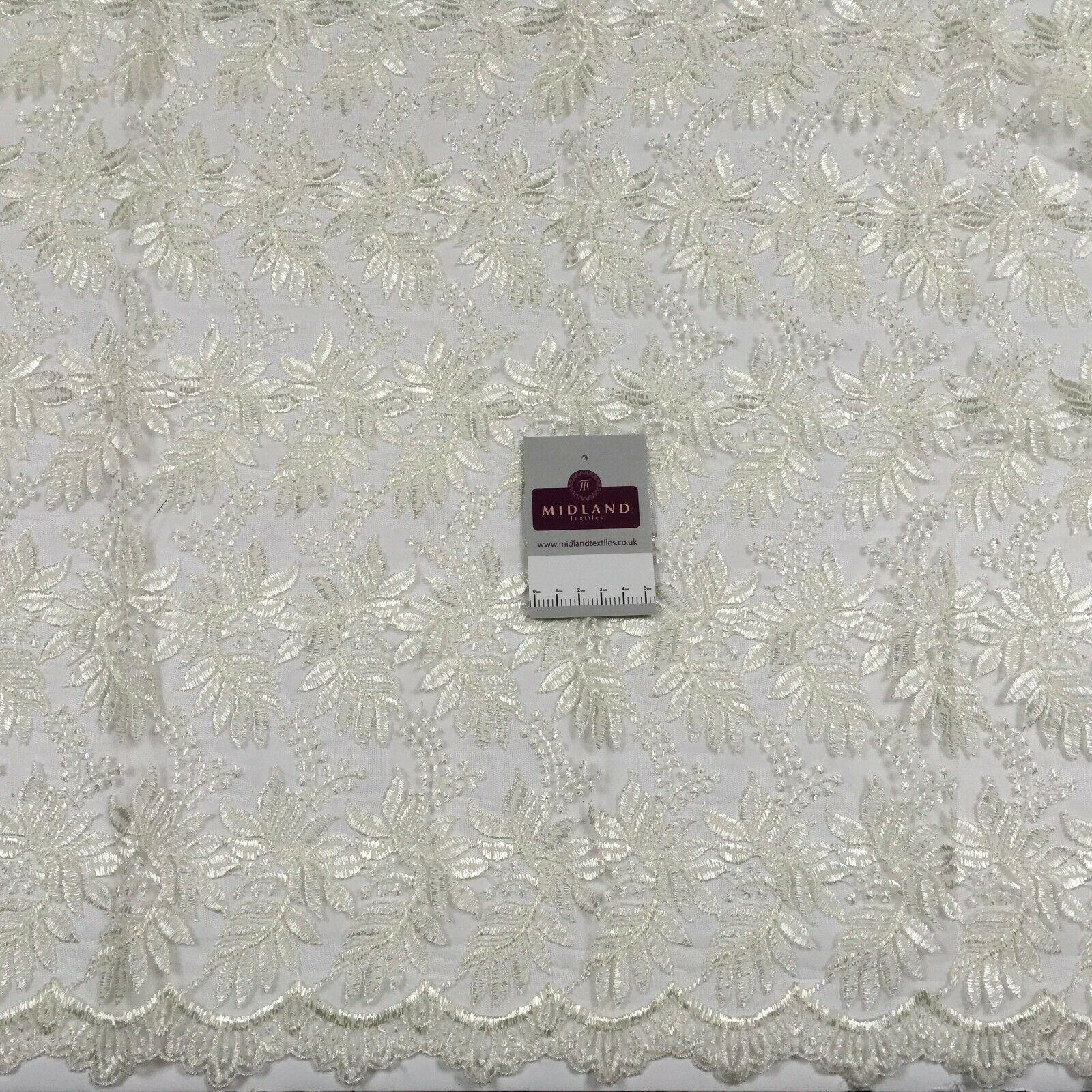 Embroidered Floral Tulle Net wedding dress Fabric 100 cm MK1370 Mtex