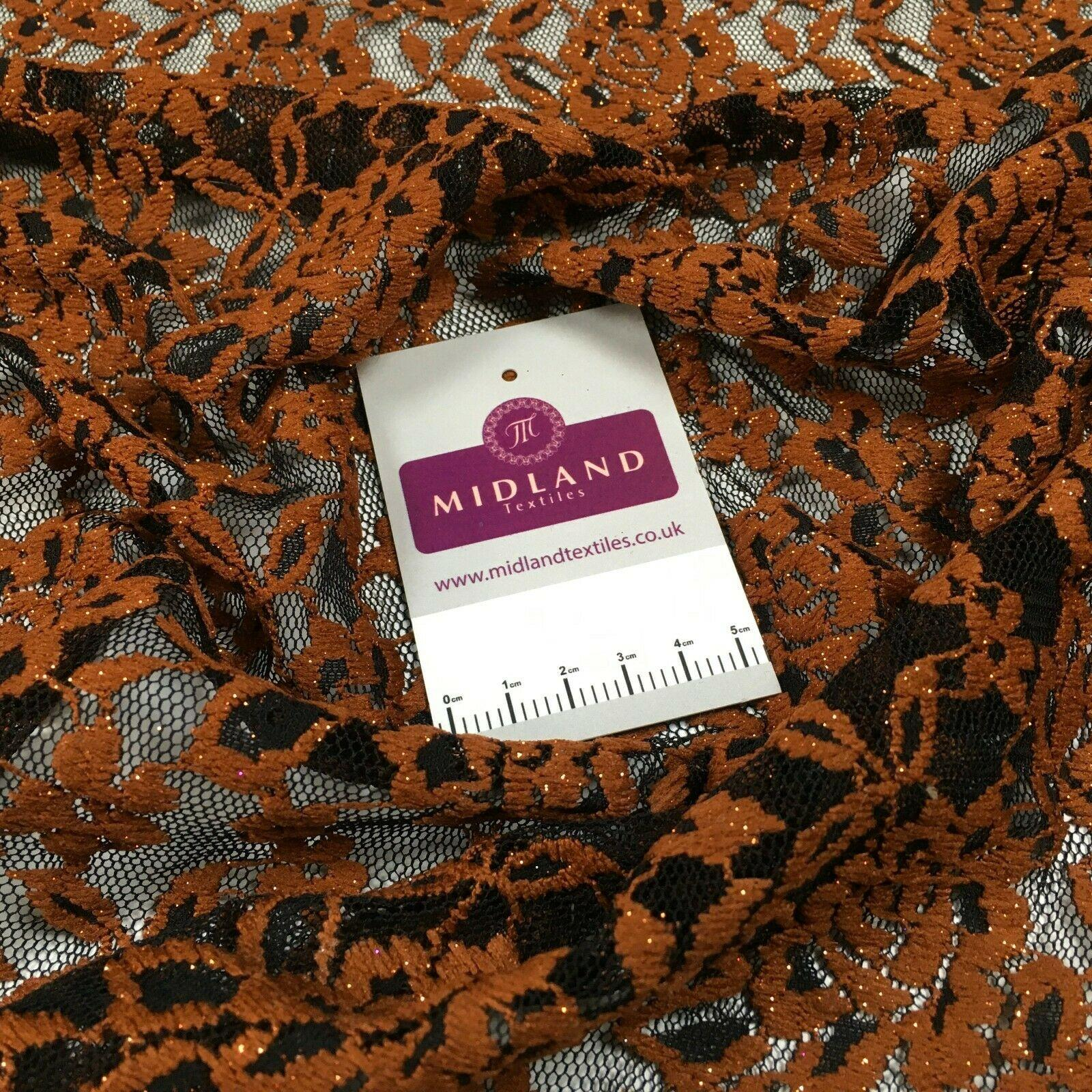 Black rust floral lace dress Fabric 150 cm M186-52 Mtex