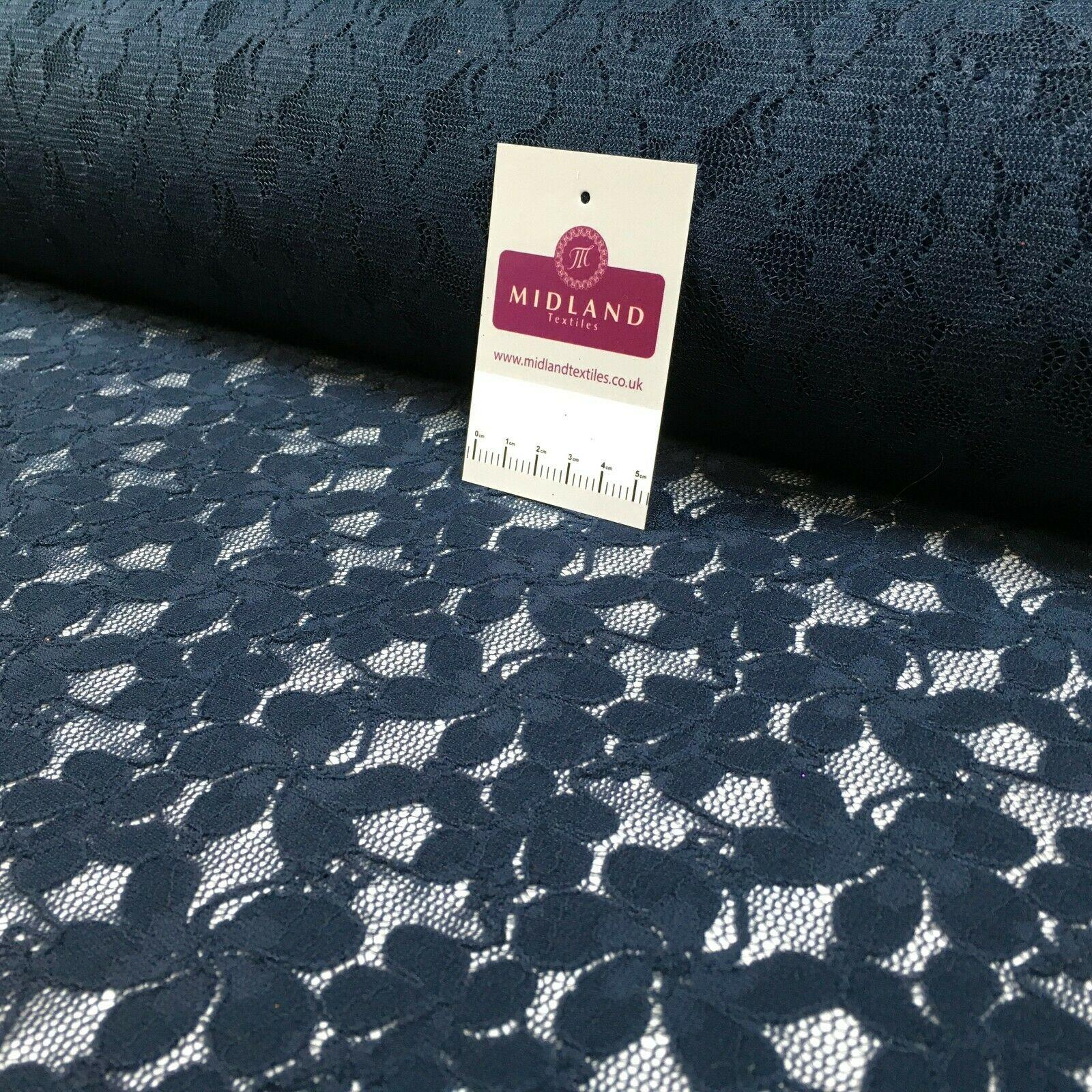"""Floral Soft Lace 2 way stretch Fabric 55/"""" wide M186-14 Mtex"""
