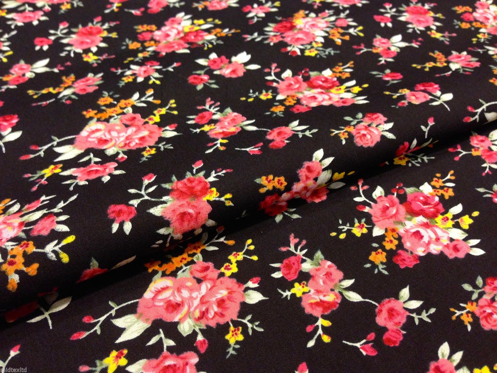 "cath kidston Inspired Floral 100% Cotton Printed Fabric 58"" Wide- Floral - Per Metre- M123 Mtex"