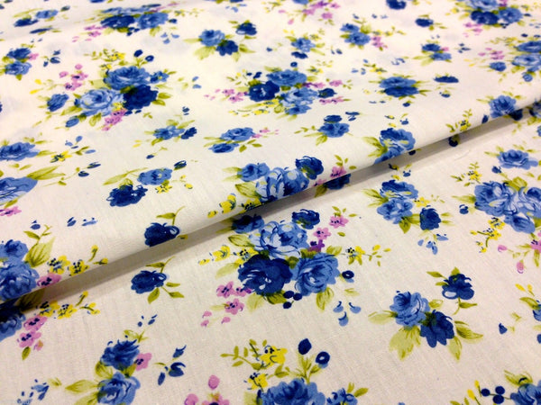 "cath kidston Inspired Floral 100% Cotton Printed Fabric 58"" Wide- Floral - Per Metre- M123 Mtex - Midland Textiles & Fabric"