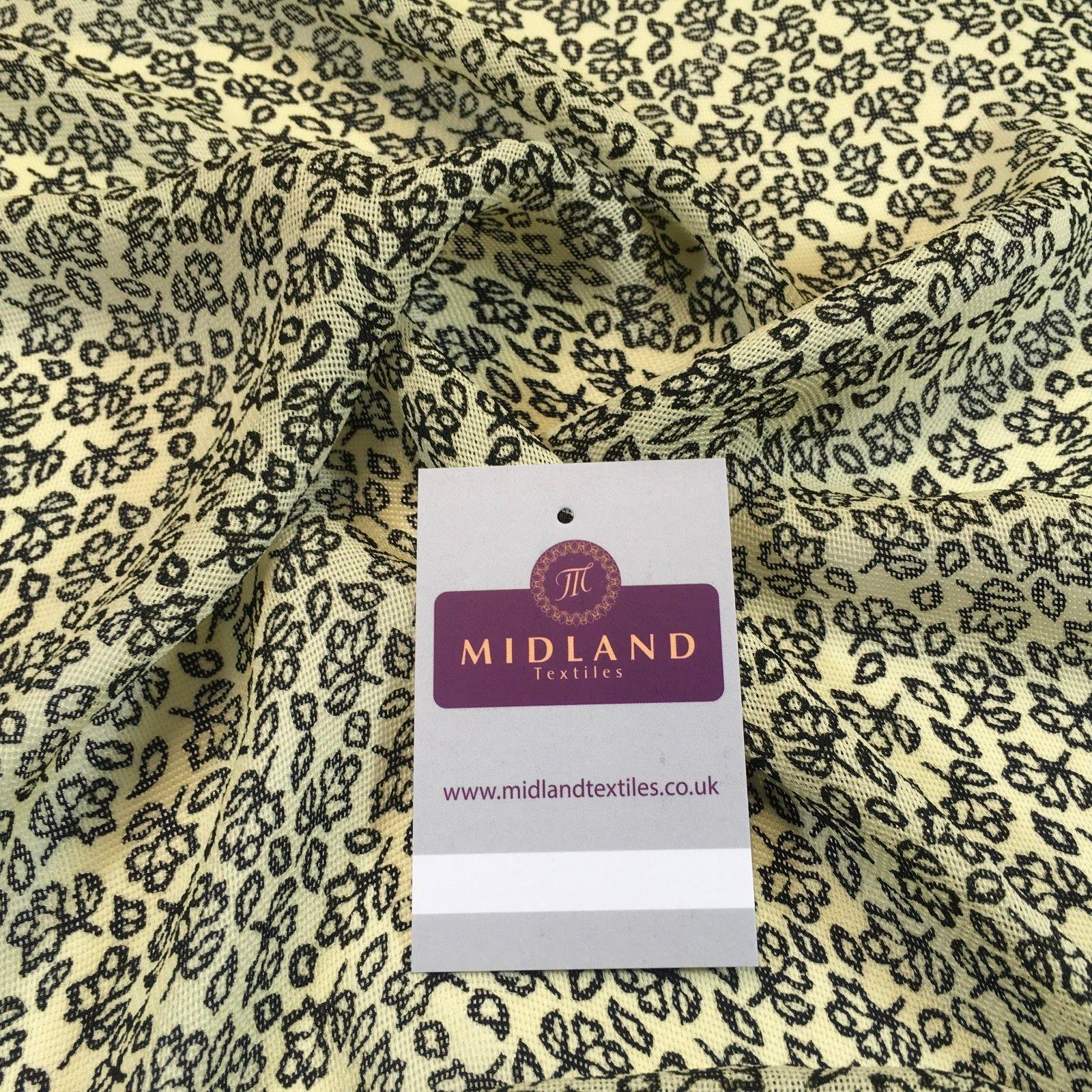 "Black Cream Floral textured moss crepe dress fabric 44"" M145-64 Mtex - Midland Textiles & Fabric"