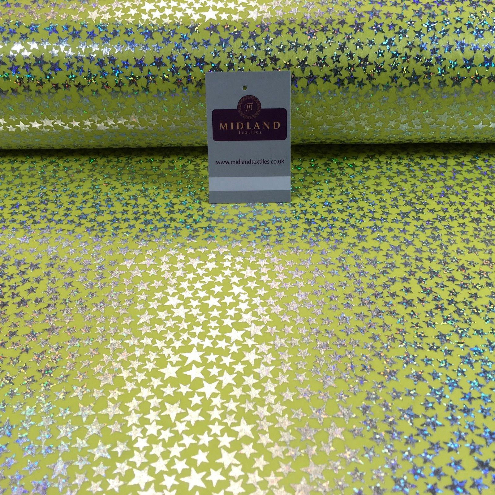"Yellow with silver stars hologram printed computer foil fabric 45"" M7-10 Mtex"