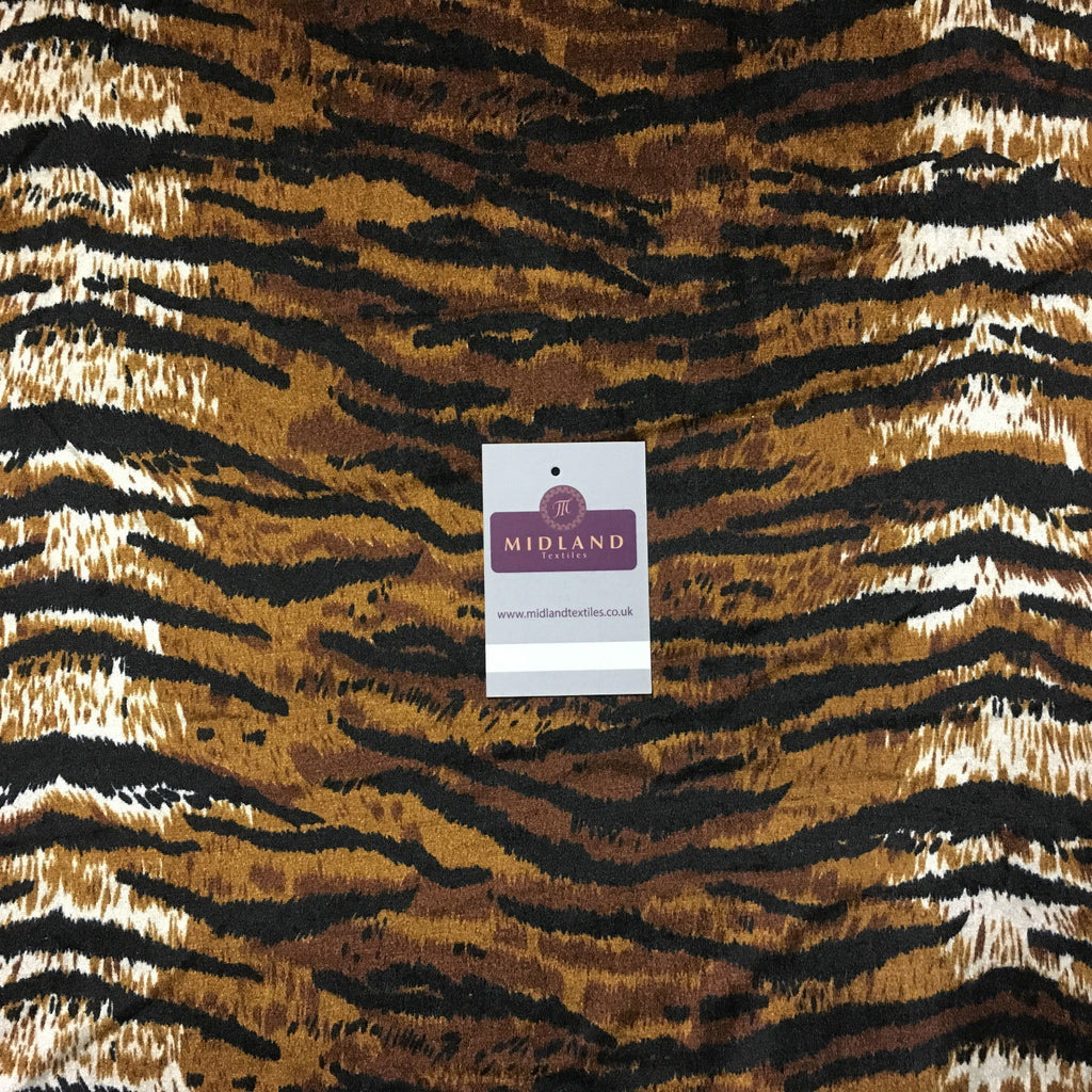 "Brown Tiger printed stretch velvet dress fabric 58"" M16-26 Mtex - Midland Textiles & Fabric"