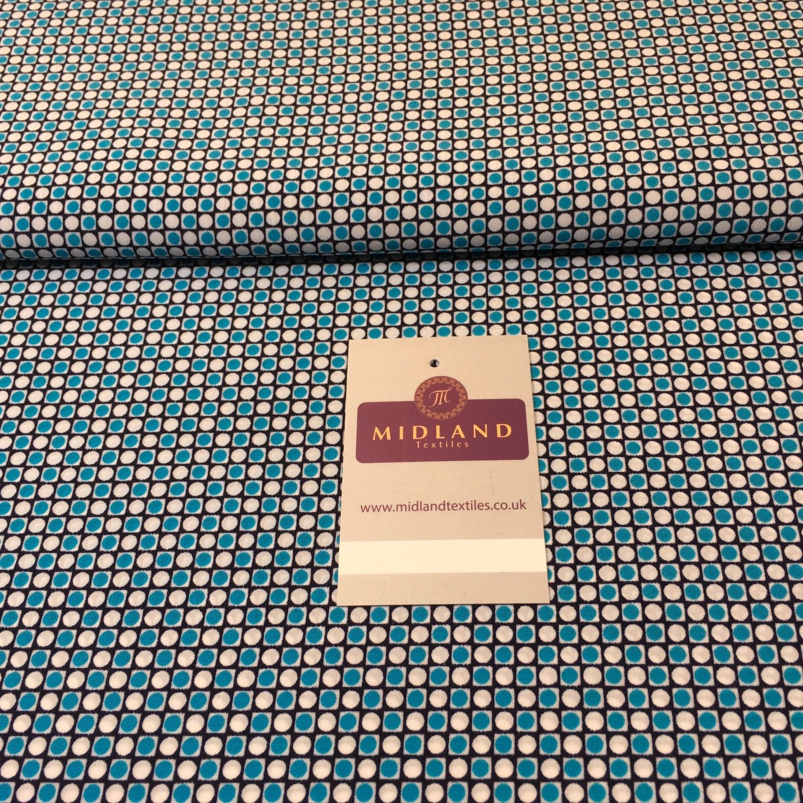"Blue Spotted Geometric Crepe Dress Fabric 58"" M401-49 Mtex - Midland Textiles & Fabric"