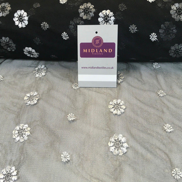 "Black Embroided Floral net dress fabric 36"" Wide M186-33 Mtex - Midland Textiles & Fabric"