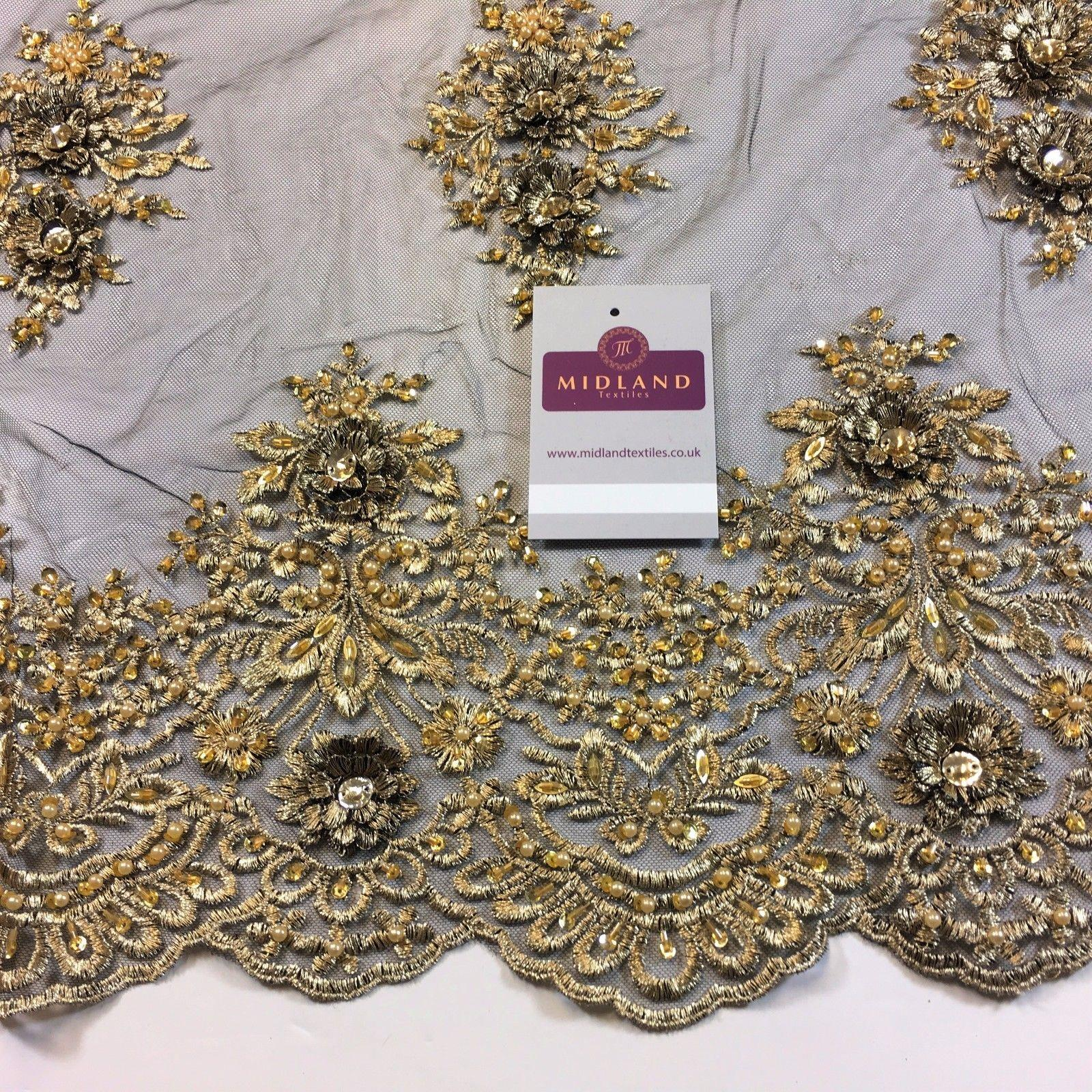 "Floral Embellished Scalloped Edged Dress Net with faux pearls Fabric 58"" M792 - Midland Textiles & Fabric"