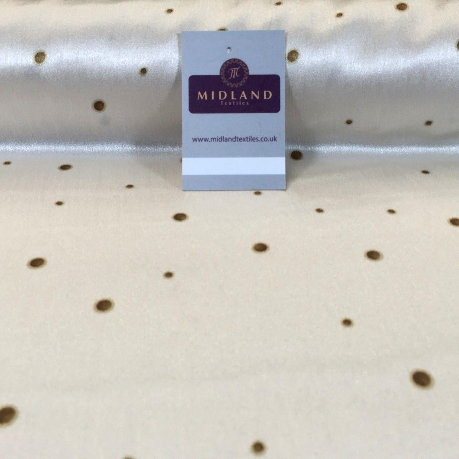 "Cream spotted silky smooth satin dress fabric 58"" M145-67 Mtex - Midland Textiles & Fabric"