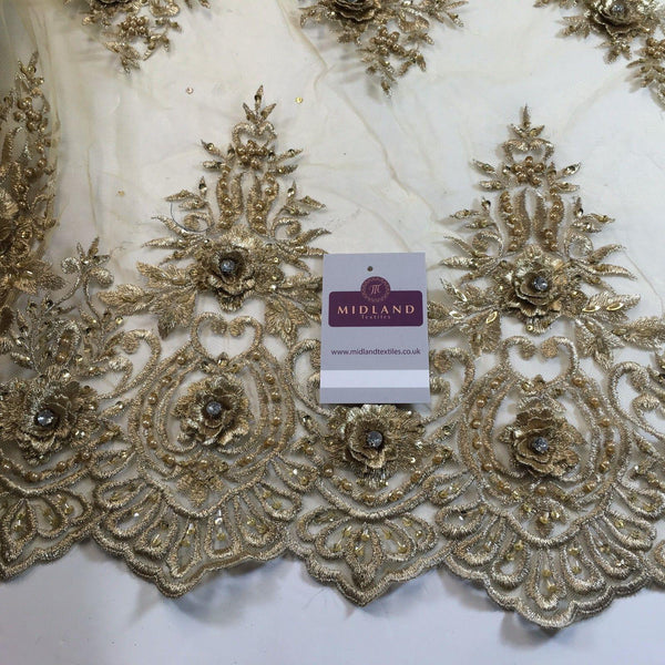 "Embroidered Floral scalloped edged net with faux pearls & clear stones 58"" M791 - Midland Textiles & Fabric"
