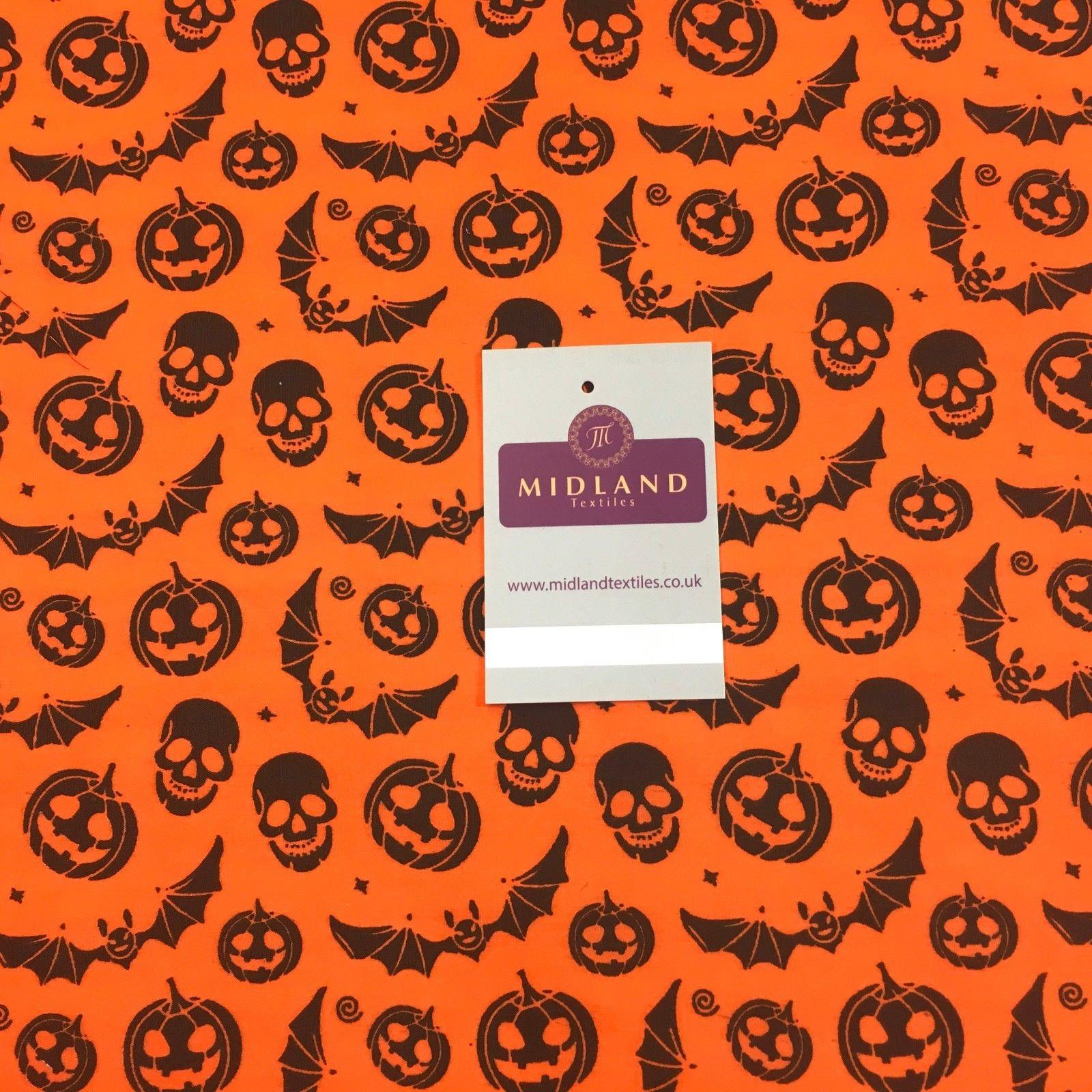 "Halloween Bat Skull and pumpkin printed polycotton fabric 44"" M754 Mtex"