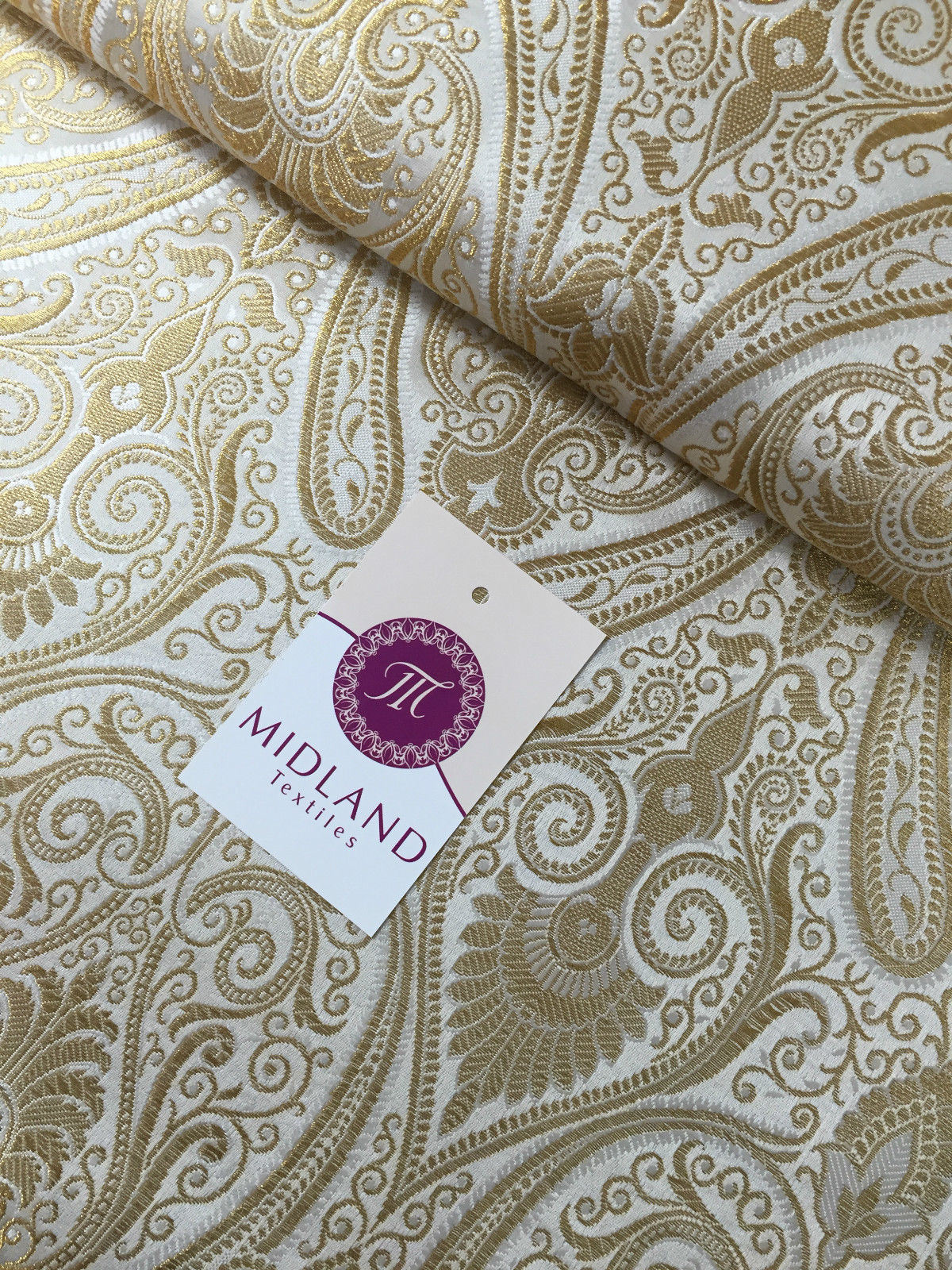 Ornamental paisley gold metallic print Indian banarsi Brocade fabric M246 Mtex