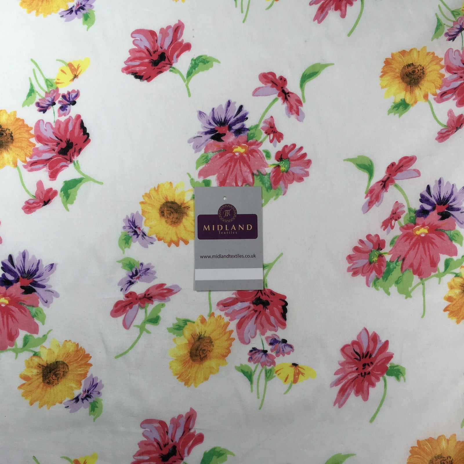 "White Floral sunflower cotton lawn printed dress fabric 58"" M145-58 Mtex"