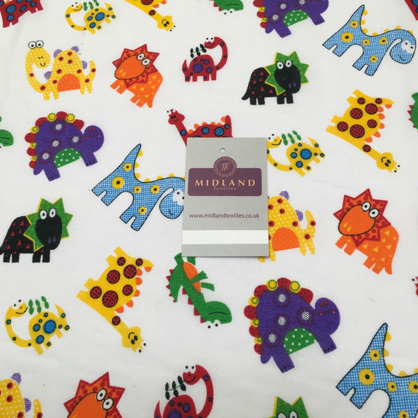 "Quirky Novelty Children's Dinosaur printed Polycotton fabric 44"" M737 Mtex"