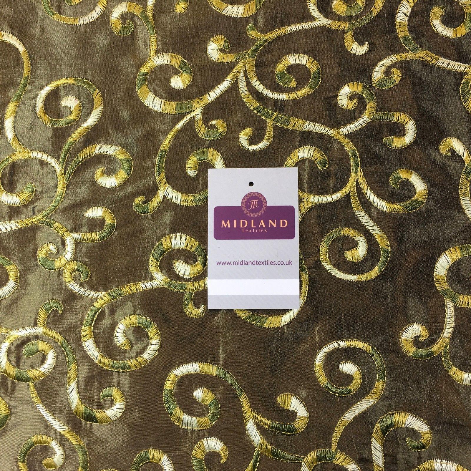 "Ornate Swirl embroidered taffeta dress, curtain, cushion fabric 55"" M748 Mtex"