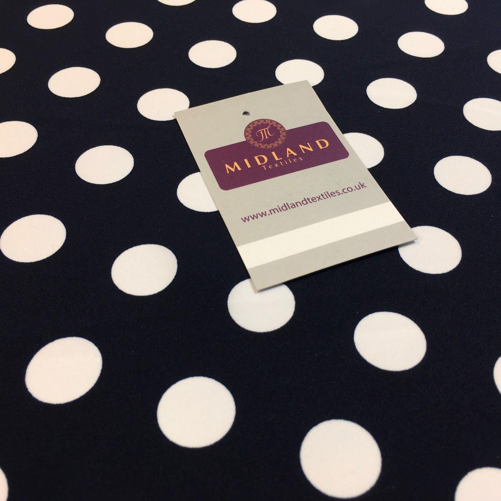 "Navy Blue polka dot peach crepe printed dress fabric 58"" M145-63 Mtex"