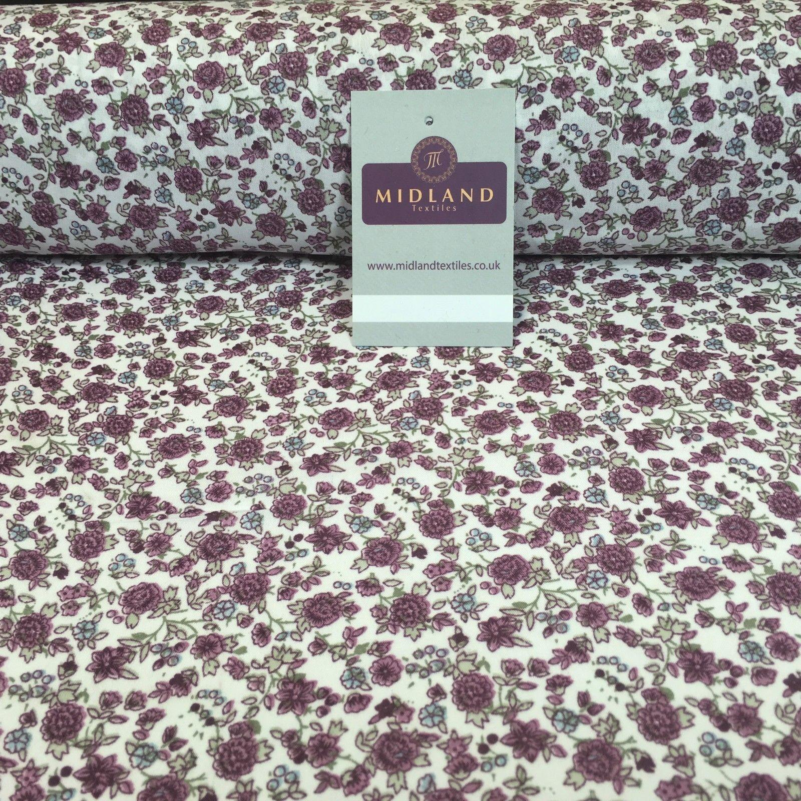 "Pastel Coloured Floral Vintage soft crepe printed fabric 44"" wide M760 Mtex"