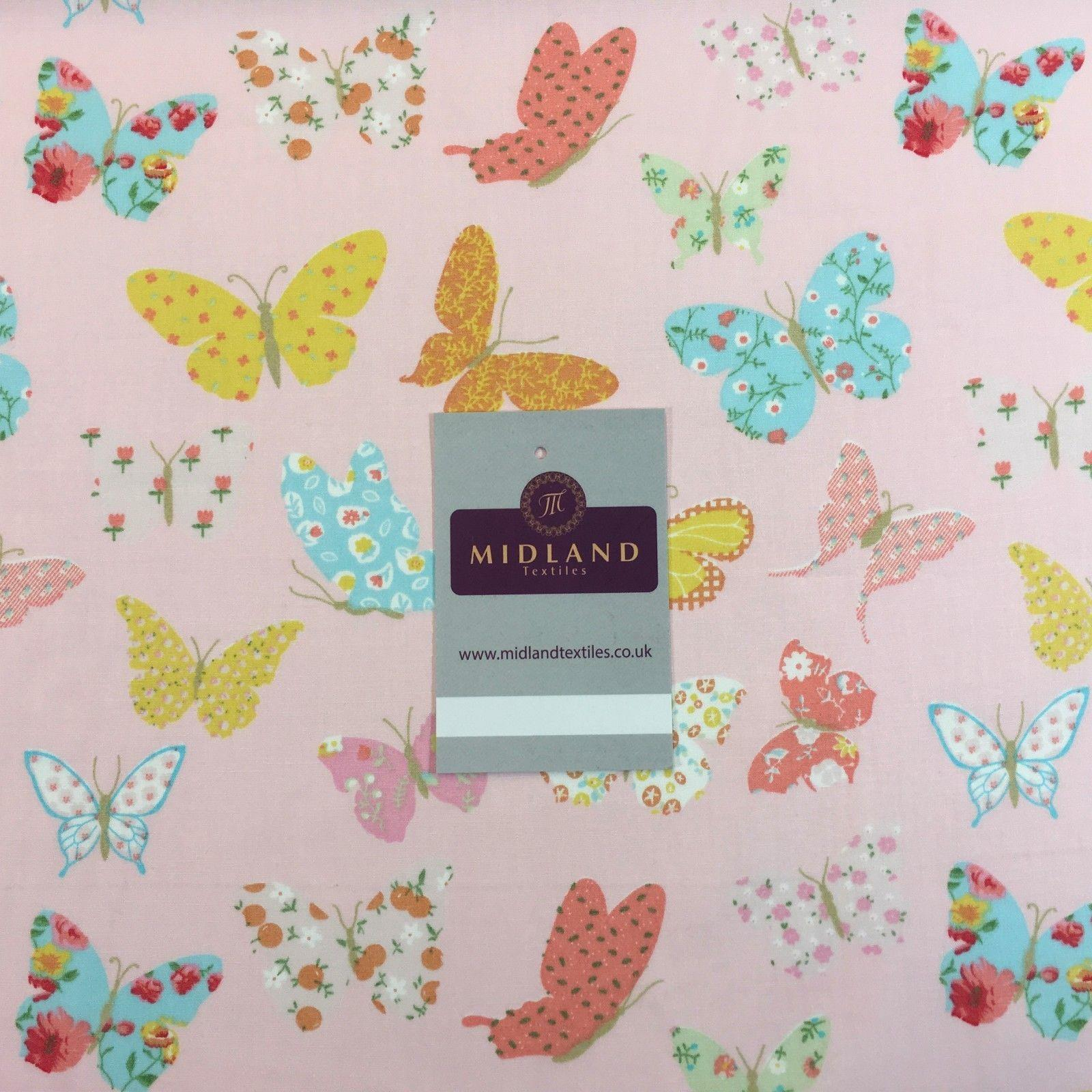 "Printed butterfly cotton poplin fabric 45"" Wide M769 Mtex"