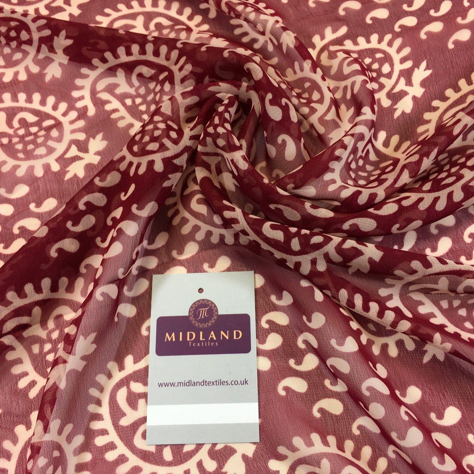 "Two Coloured paisley Lightweight printed chiffon 55"" Wide M764 Mtex"