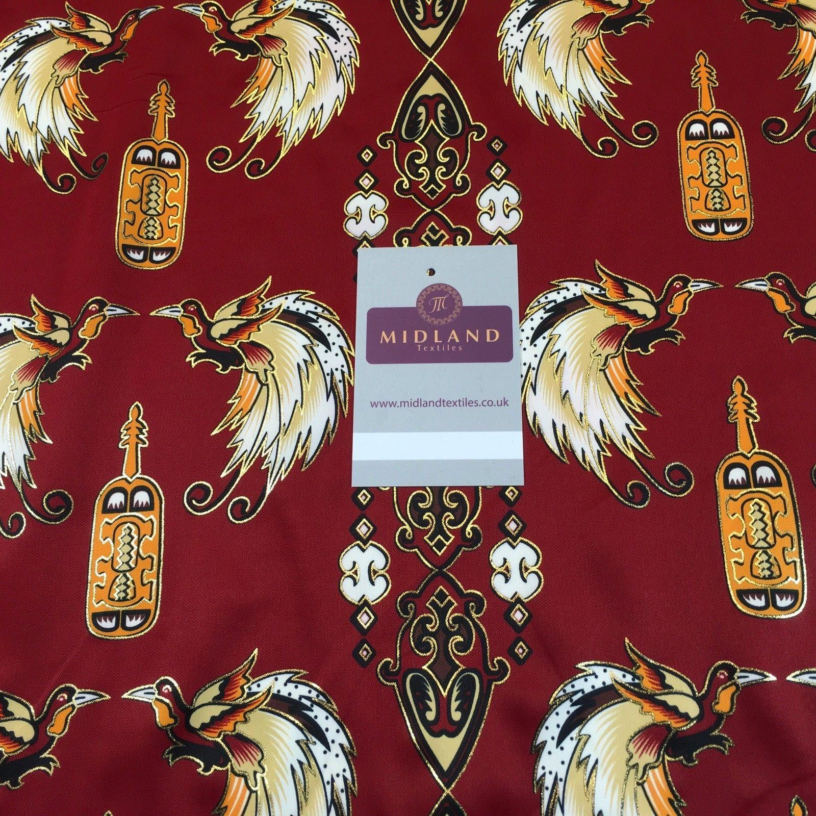 "Red Birds Batik Papua printed with gold foil dress fabric 44"" M145-70 Mtex"