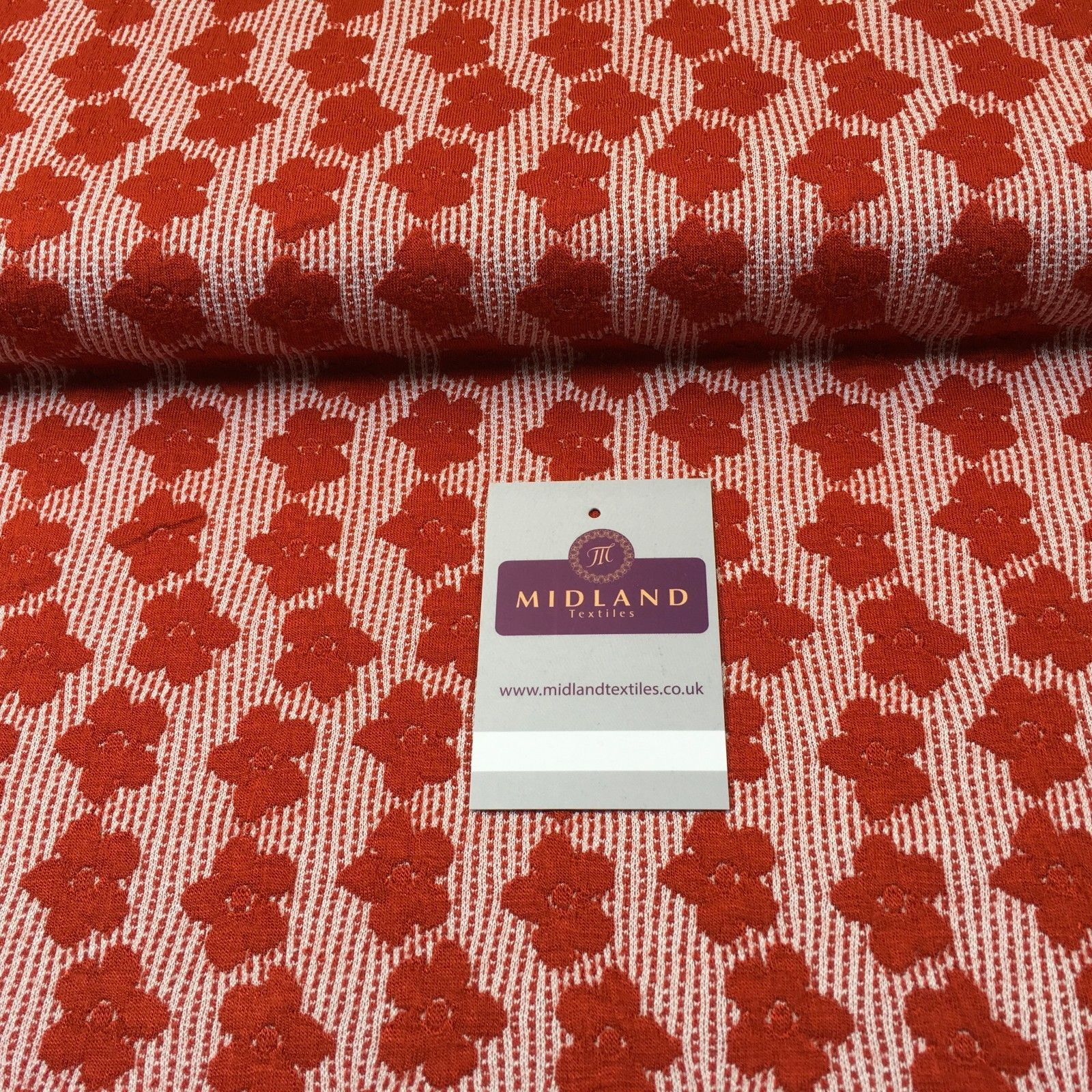 "Red Flower Jersey Stretch dress fabric 50"" M720-18 Mtex"