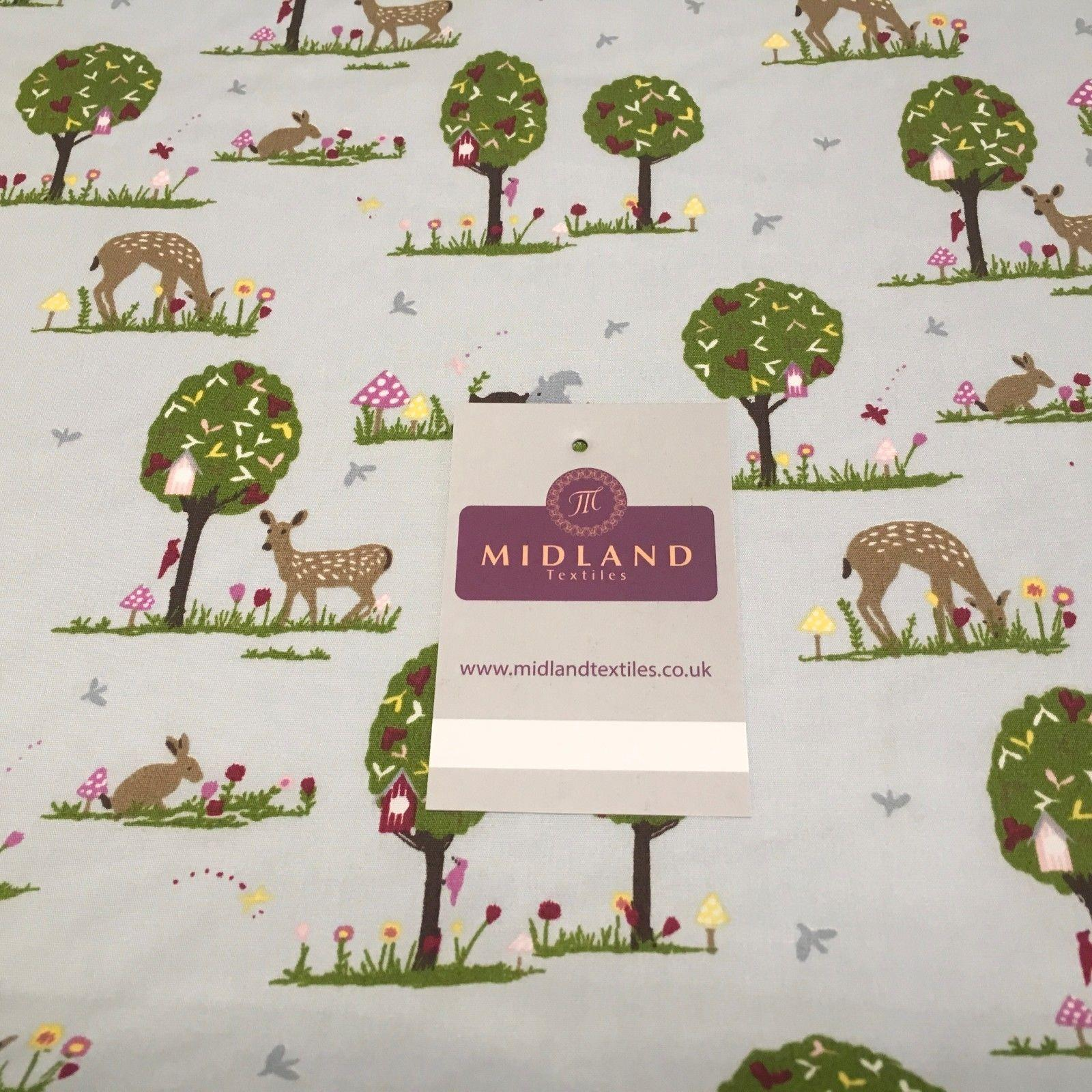 "Tree, Rabbit and Deer printed 100% cotton fabric 44"" Wide M813 Mtex"