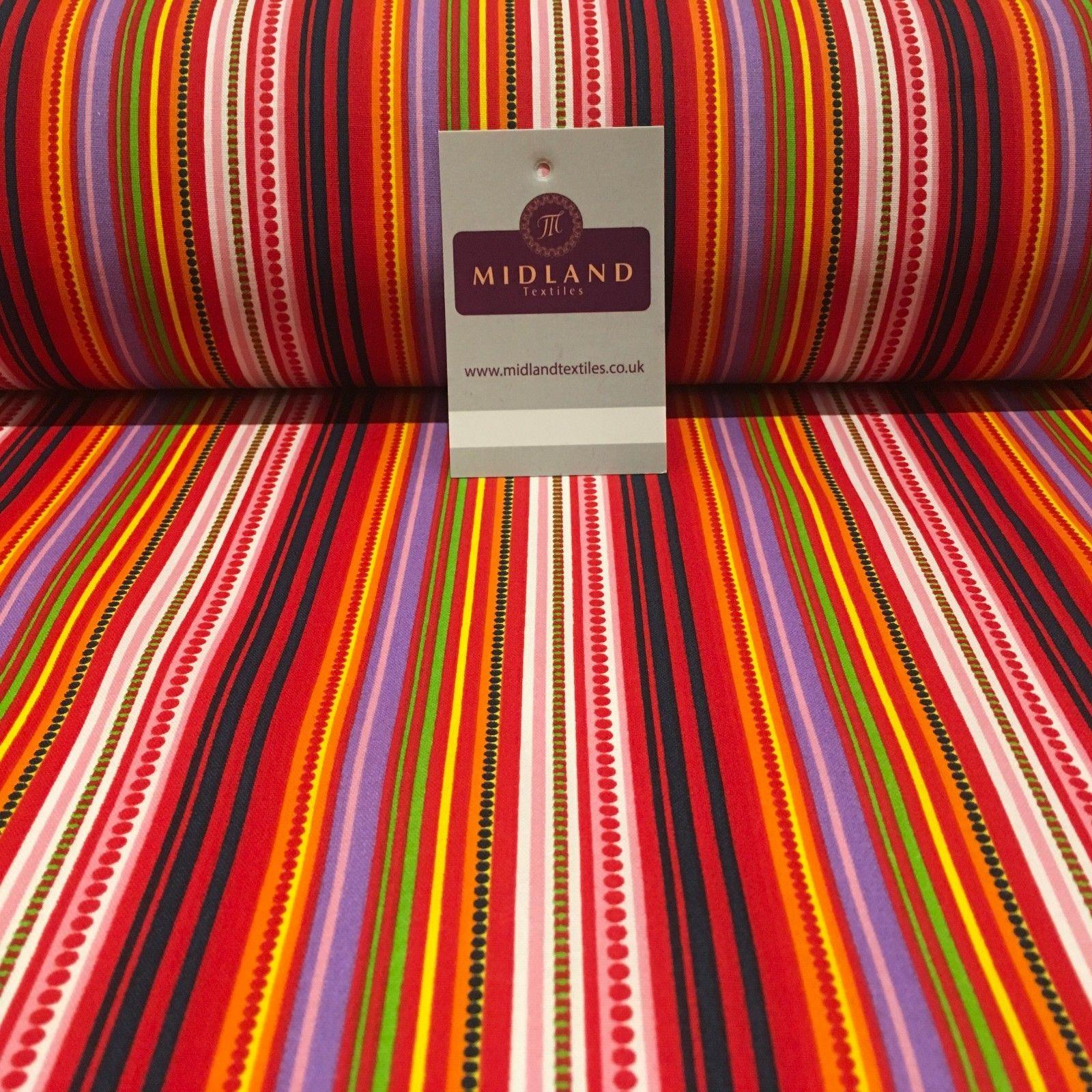 "Multicoloured Vertical Striped cotton printed Fabric 44"" Wide M810 Mtex"