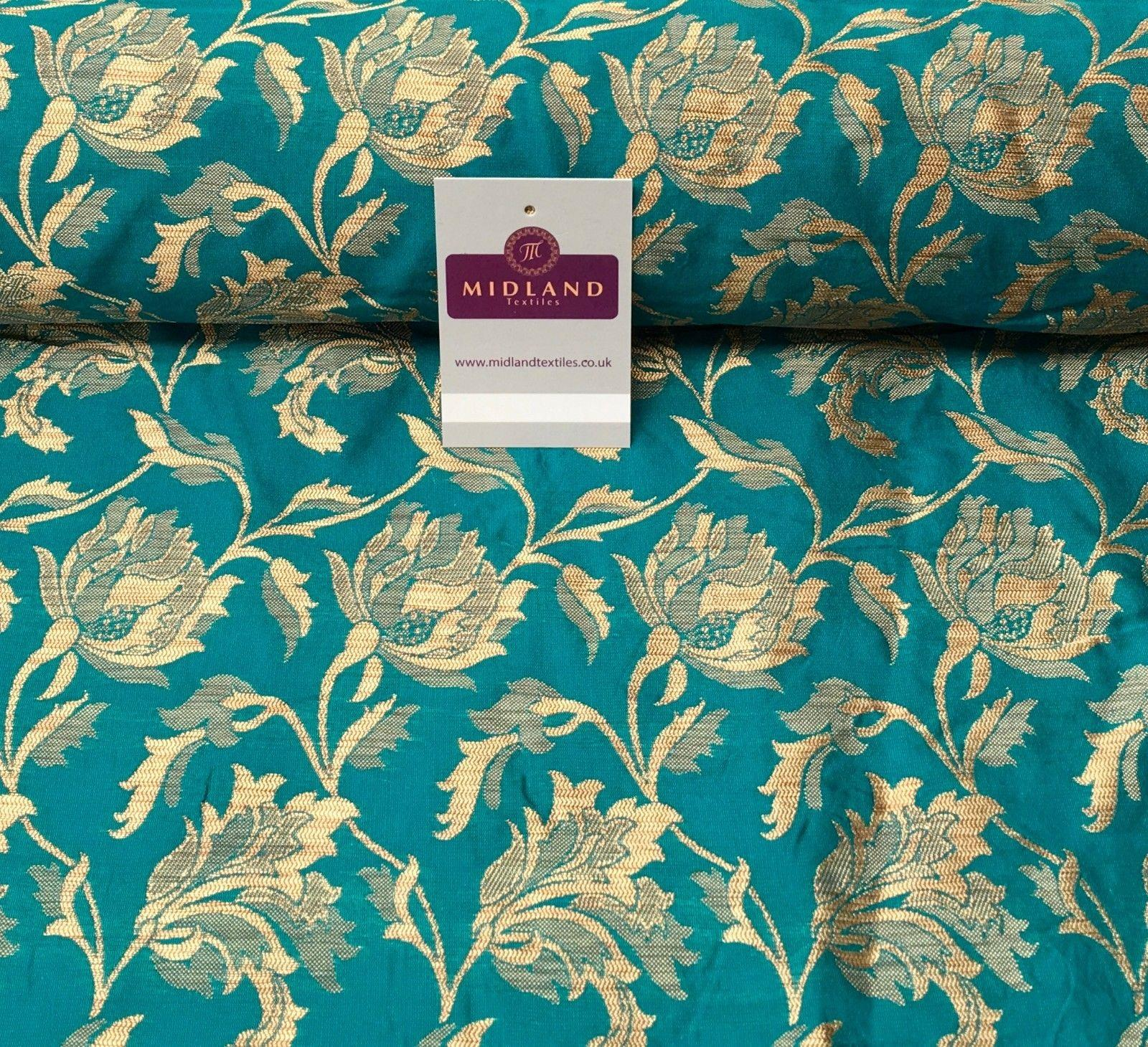 "Indian Gold Floral Banarsi Brocade Faux Silk Waistcoat Fabric 44"" Wide Mtex M833"