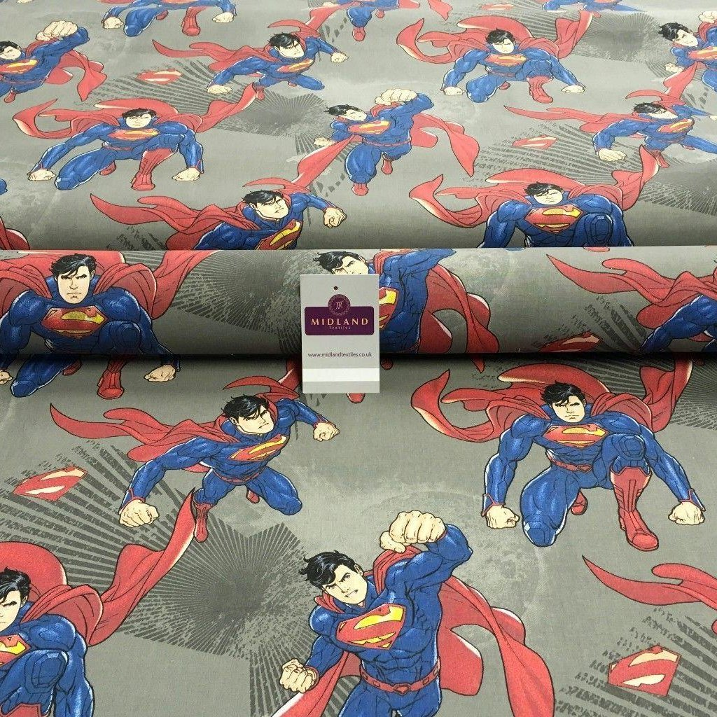 "100% Cotton DC Marvels Comic Superman Printed Craft Fabric 58"" wide MH869"