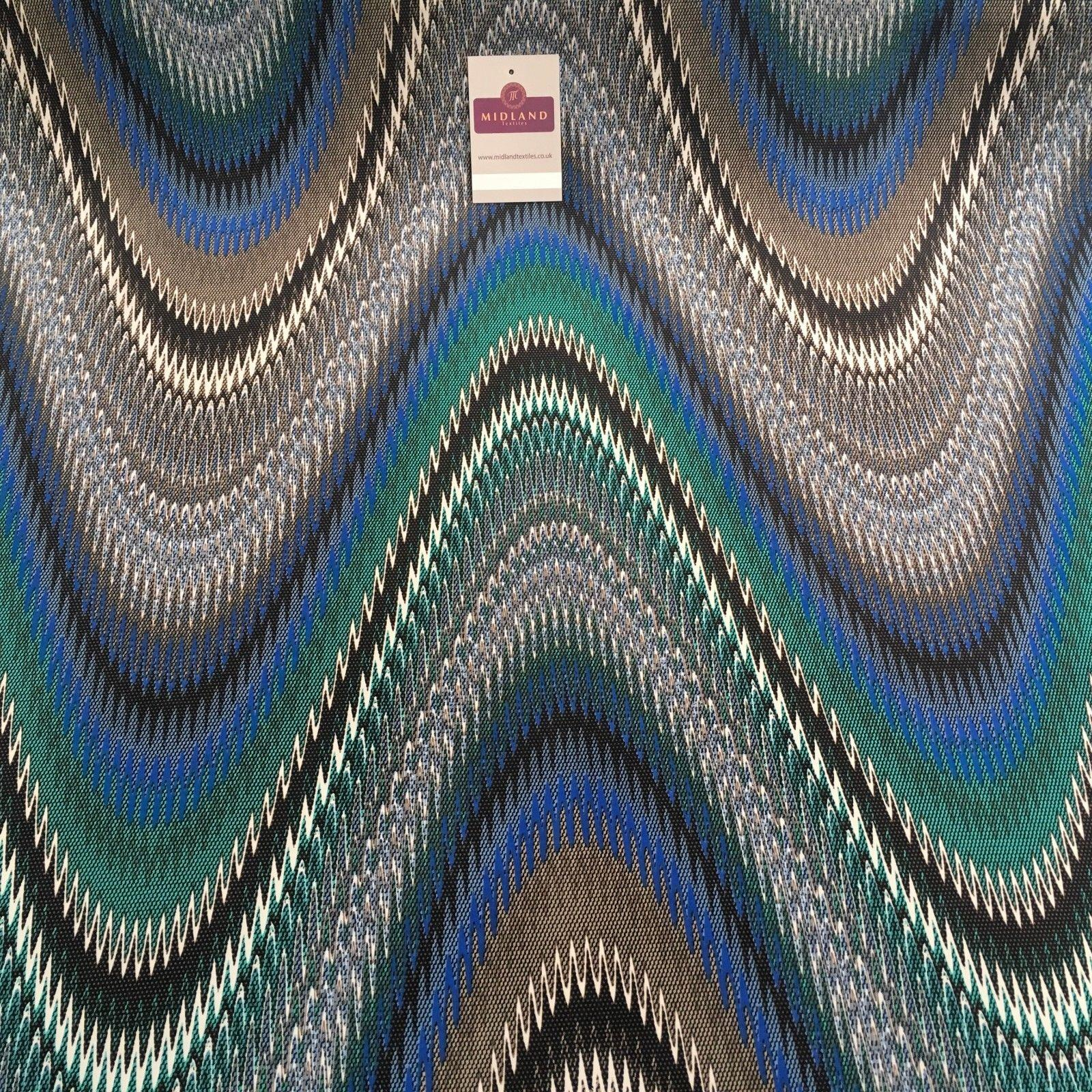 "Green and Blue Artistic Printed ity Jersey Lycra Stretch Fabric 58"" wide MA877"
