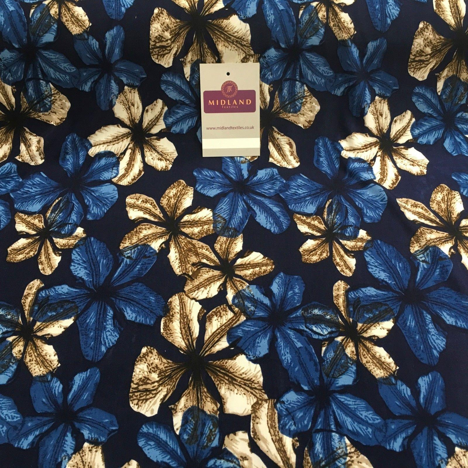 "Blue Floral Printed ity Jersey Lycra Stretch Fabric 58"" Wide MA876 Mtex"