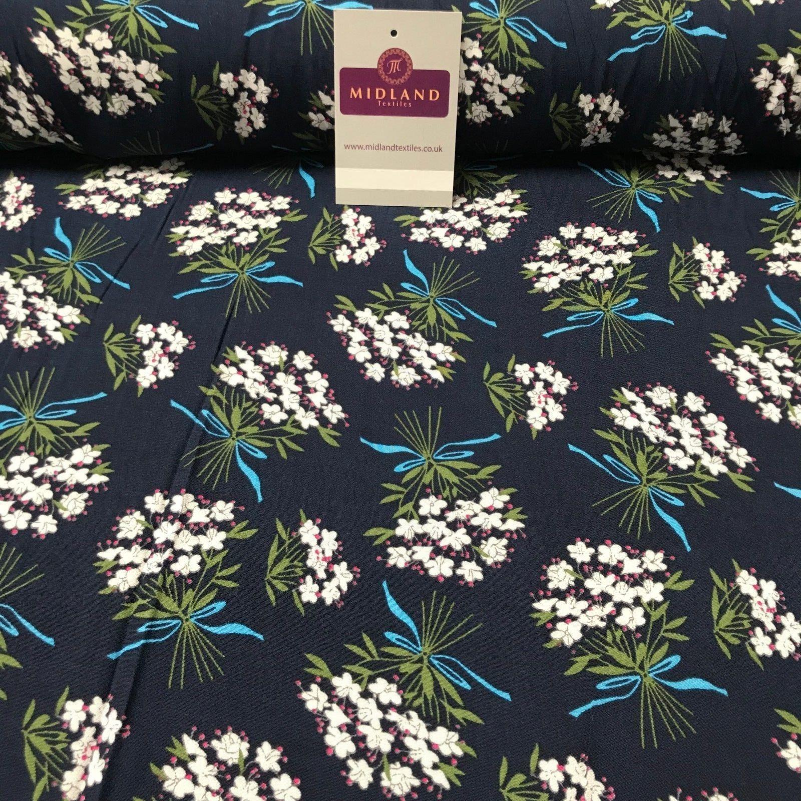 "Vintage Floral Flower Bouquet printed Viscose Dress Fabric 58"" wide MA885"