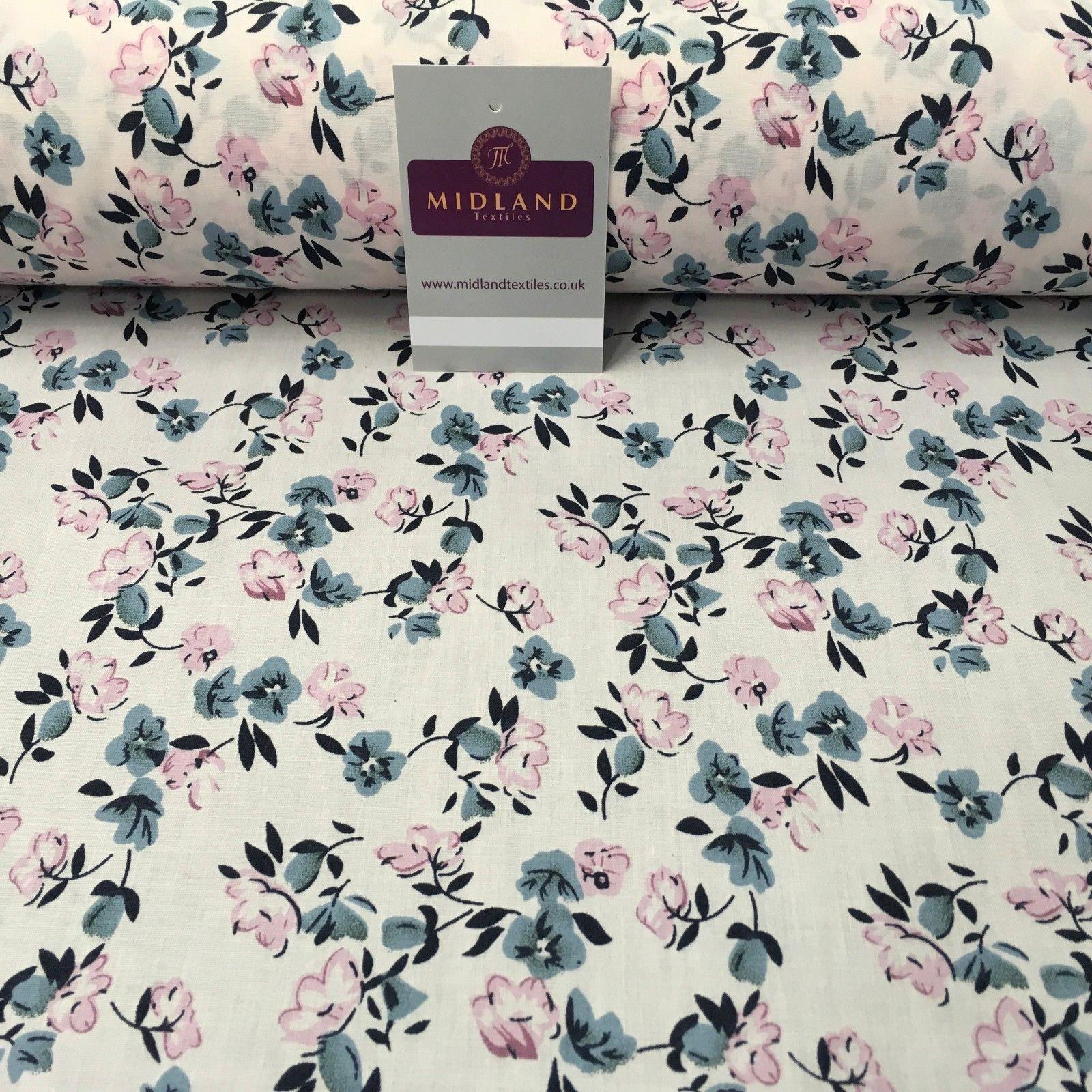 "Pale Pink Floral Vintage Printed Polycotton Dress Fabric 44"" wide ME881"
