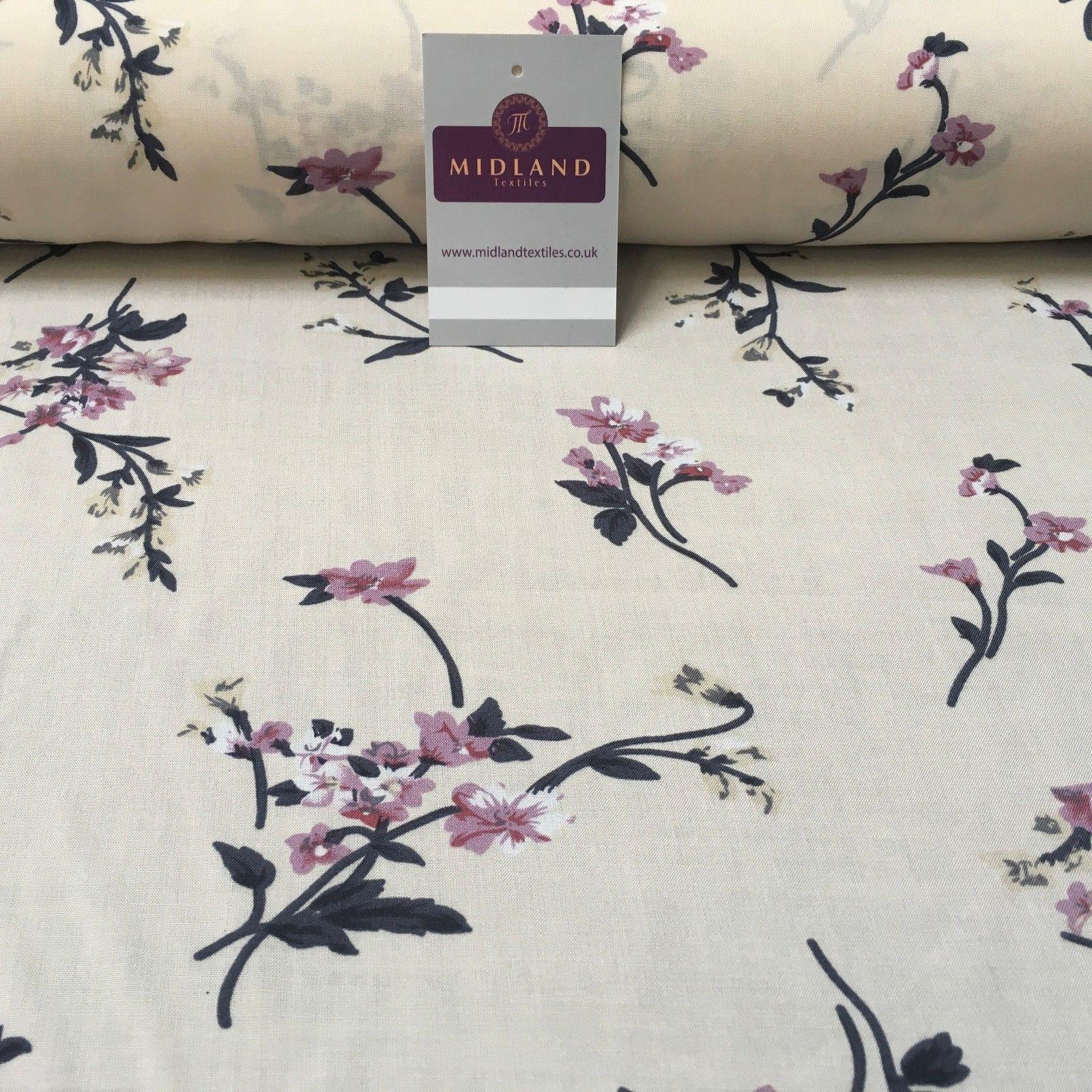 "Vintage Floral Printed Viscose Dress Fabric 58"" wide MA884 Mtex"