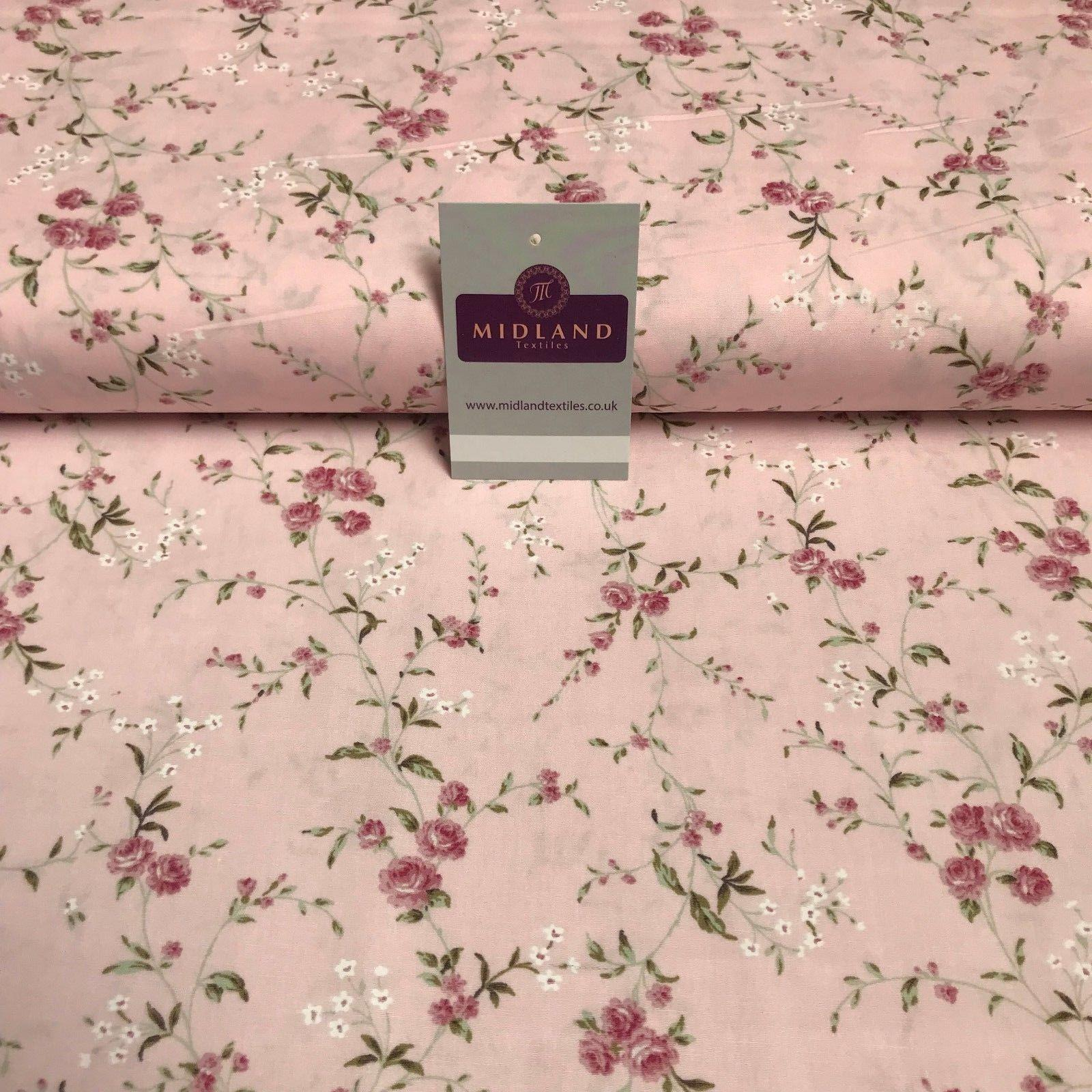 "Vintage Floral Shabby Chic Printed Cotton Poplin Dress Fabric 44"" wide MK894"