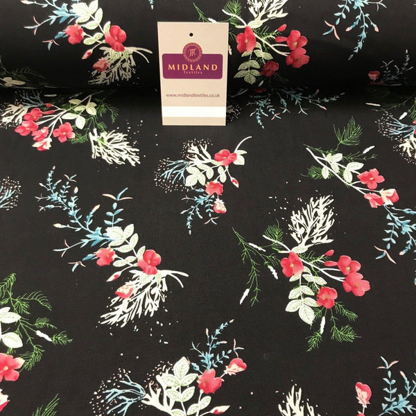 "Floral Vintage Printed Viscose Dress Fabric 58"" wide MA887"