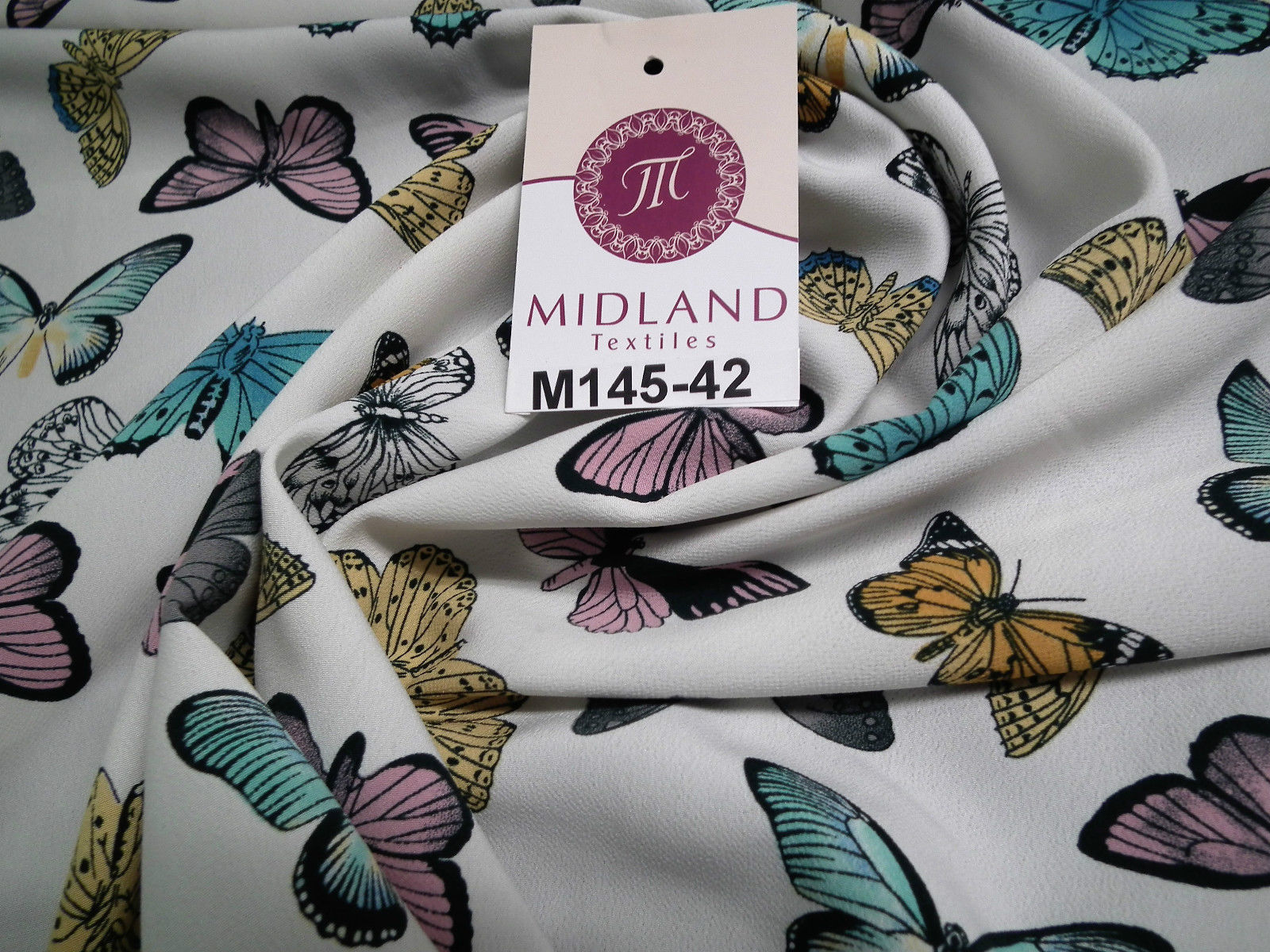 "Pearl White Butterfly Printed peach koshibo dress fabric 58"" wide M145-42 Mtex"