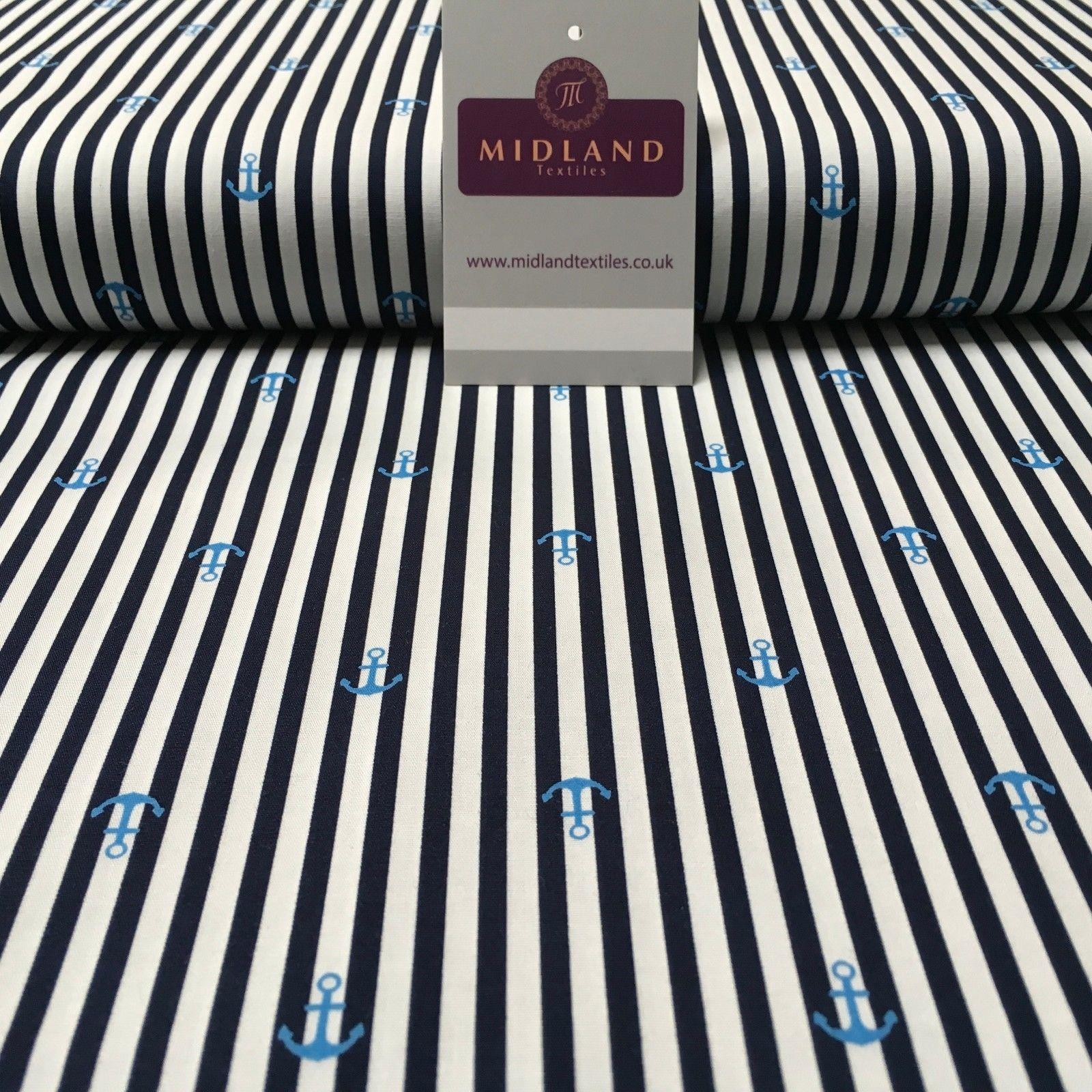 "Nautical Anchor Stripes Printed Poplin Fabric 45"" Wide MK918 Mtex"