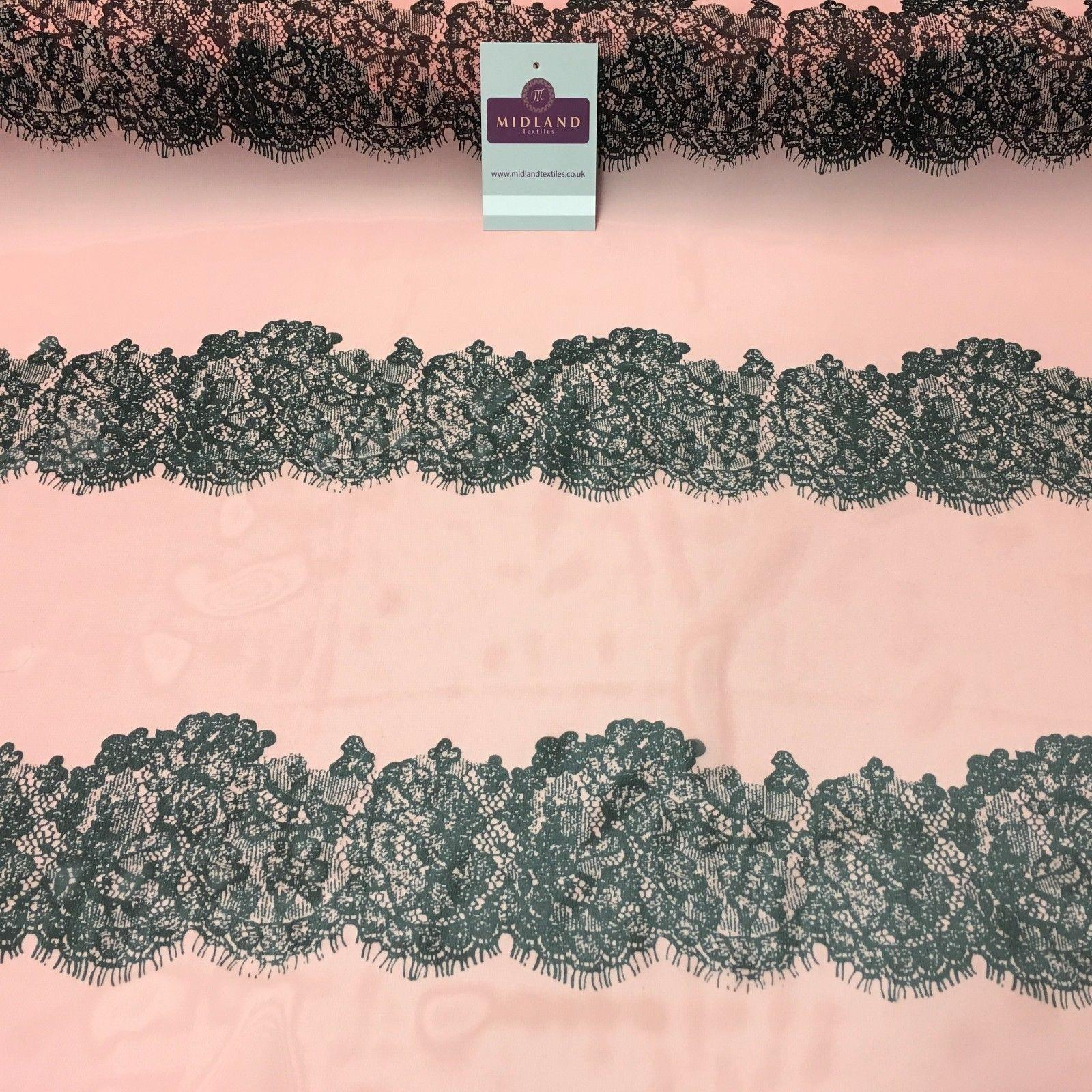 "Peach pink lace effect printed chiffon high street Fabric 58"" Wide M401-56 Mtex"