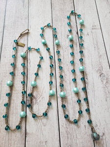 Samantha- Peacock Blue Crystal and Light Turquoise Pearl