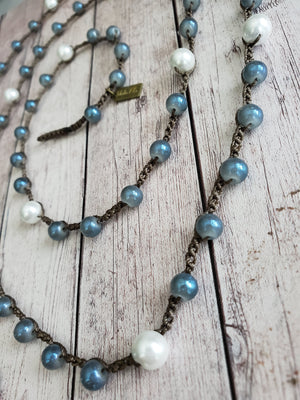 Samantha- Steel Blue and White Pearl