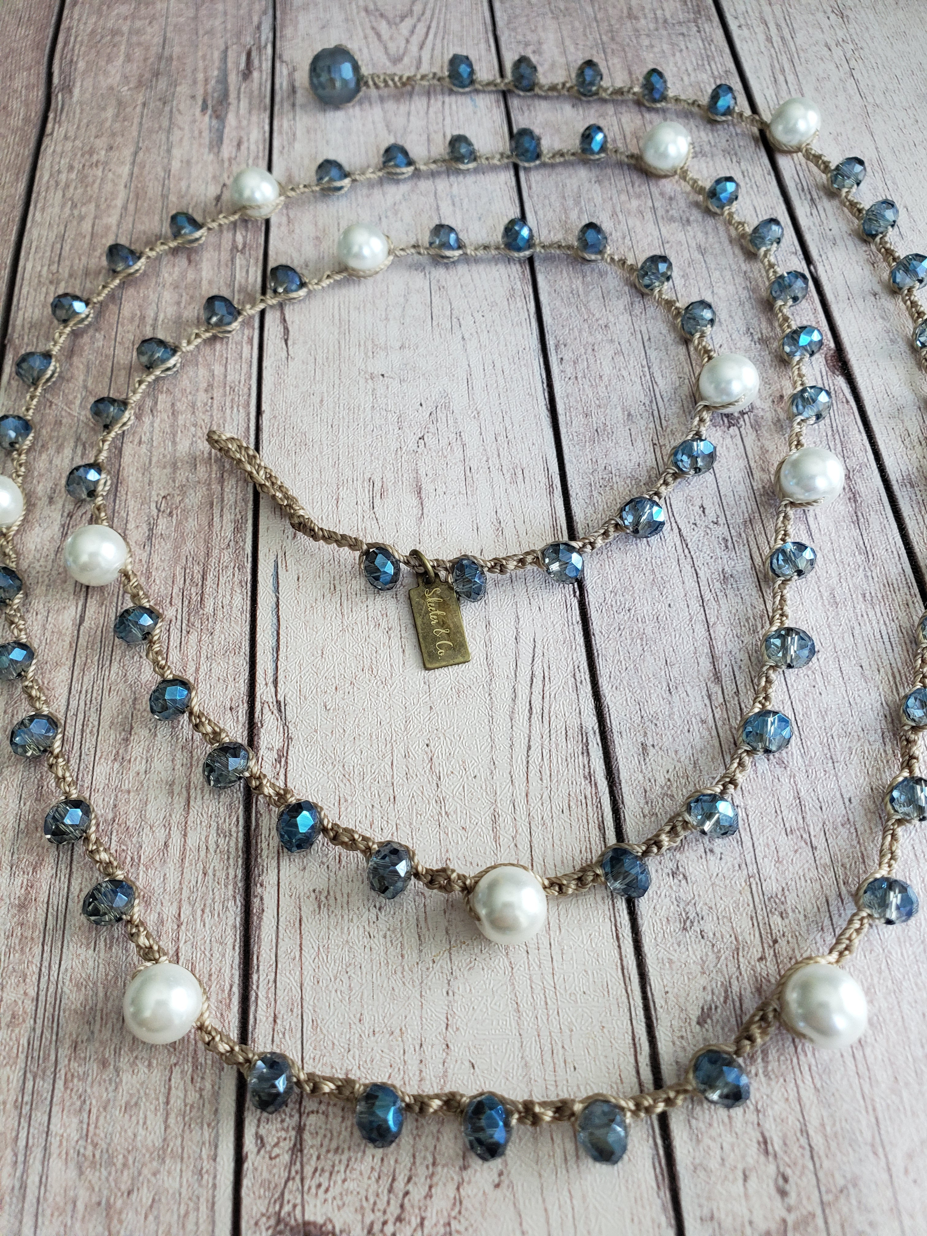 Karen- Navy Crystal and White Pearl