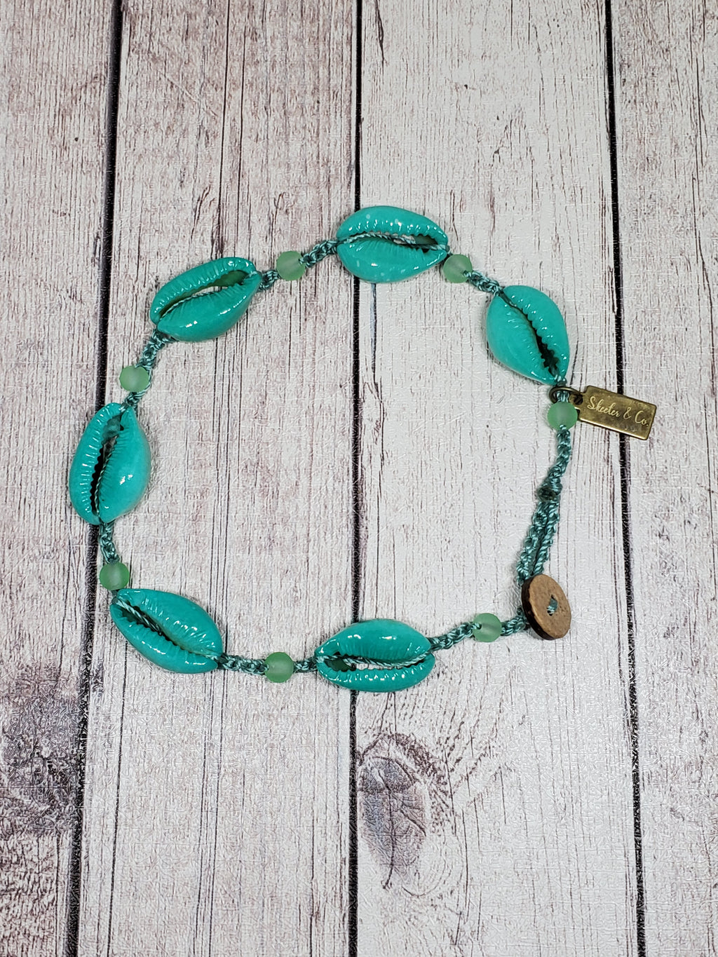 Cowrie Shell Anklet- Turquoise