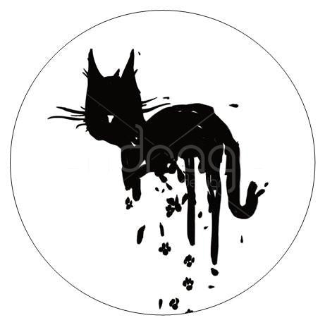 1 Large Black Drippy Cat Circle Sticker (glossy 3 1/4