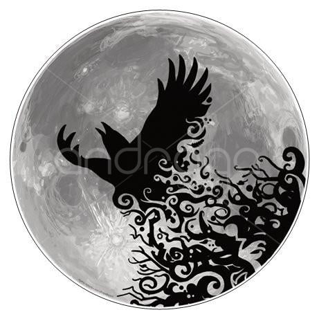 1 Large Raven Circle Sticker (glossy 3 1/4 inches diameter)