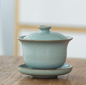 Blue Celadon Gaiwan with crackle glaze, Ge Kiln. 195ML