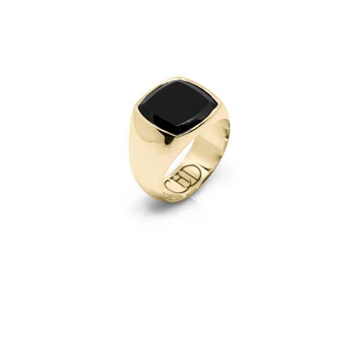 CUSHION GOLD ONYX RING