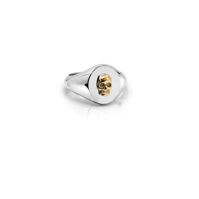 GOLD SKULL SIGNET RING