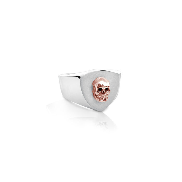 SKULLED SHIELD RING W/ ROSE GOLD